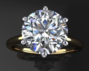 naomi ring - 2.7 carat diamond cut round NEO moissanite engagement ring
