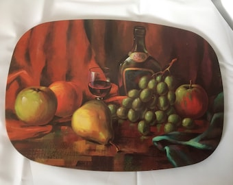 Vintage set of four metal placemats cork backed