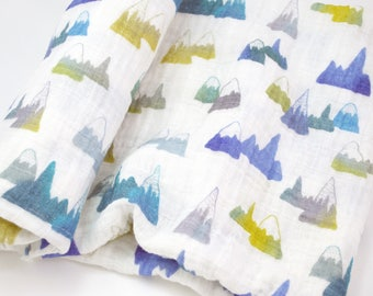 """Muslin Swaddle Blanket in Mountain - made from 100% cotton double gauze - 45"""" square"""