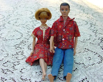 Vintage 1960s Handmade Barbie And Ken Matching Outfits, Barbie Dress And A Shirt With Slacks For Ken