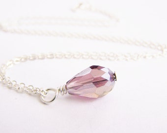 SALE - Sparkling Plum Crystal Teardrop Necklace - bridal - wedding - bridesmaids - affordable gifts - beach - free shipping WAI