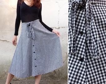 Brigitte BARDOT French VTG 90s does 1950s black white gigam cotton circle skirt Sz S