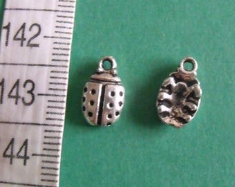 set of 3 charms silver Ladybug 12mmx7mm