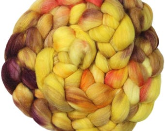 Scepter - hand-dyed Polwarth wool and silk (4 oz.) combed top roving