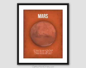 Mars Planet Poster, Outer Space Wall Art, Science Nerd Poster, Space Geek Gift