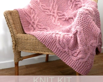 Knitting kit for Cable lap blanket , cable knit kit  , Chunky yarn & instructions , knitted Throw diy kit ,  home decor knitting pattern