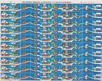 1972 Christmas Seals Issued by American Lung Association, Full sheet of 100 Seals, Vintage Ephemera