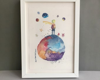 The Little Prince Painting, Original Watercolor, Baby Shower Gift, Girl Nursery Decor, New Baby Room Decor, Nursery Wall Art, New Baby Gift