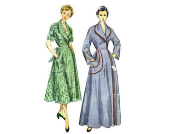 1950s Misses Housecoat or Brunch Coat Simplicity 3368 Vintage Sewing Pattern Size 14 Bust 32