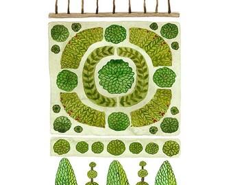 GROßE Parterre Garten Nr. 2 Druck, Aquarell Reproduktion, Giclée-Druck, Garten-Plan, englischer Garten Illustration, pflanzlichen, topiary
