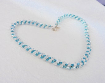 Crystal spiral rope necklace