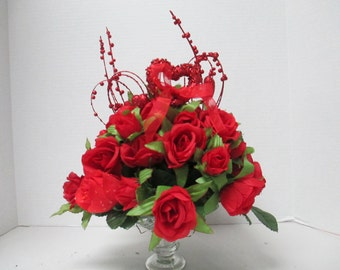 Valentine Red Rose Silkflower arrangement Centerpiece recycled glass candle holders  OOAK
