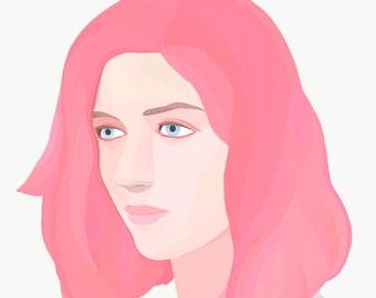 The astrology girl,  digital painting, art print, realistic portrait, digital portrait