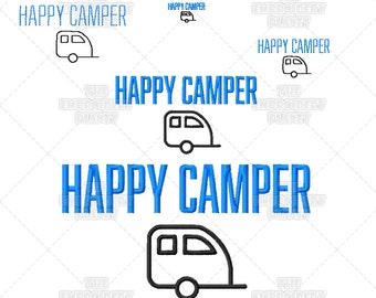 Happy Camper Clever Quote Camping Saying Word Art Machine Embroidery Pattern Design