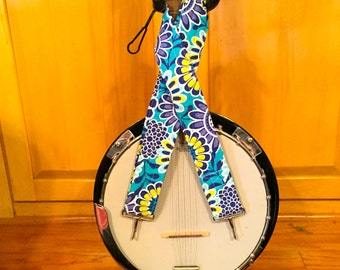 Banjo Strap - Handmade - Orange Checkerboard