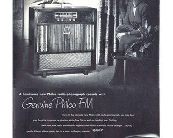 1948 Philco Radio Vintage Ad, 1940's Radio-Phonograph Console, 1940's Decor, Advertising Art, Retro Record Player, 1940's Living Room.