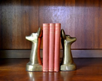 vintage mid-century brass fawn bookends / brass deer library decor / midcentury rustic woodland decor