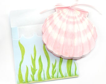 Editable Under the Sea Pink Shell Printable Card and Envelope