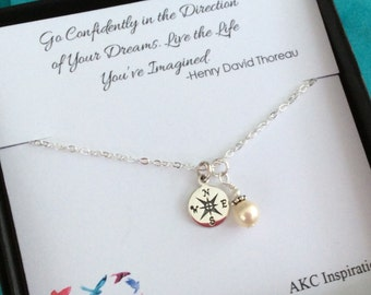 High School Graduation, Graduation gift for her, Graduate, College graduate gift for her, Compass Necklace, Go Confidently
