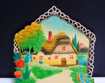 Home Sweet Home 1950s German Die Cut Embossed Sign Calendar Topper Numbered Marked