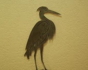 Metal Heron Garden Stake - 16 Inches tall - Minature