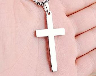 Silver Titanium Christian Cross Necklace - Crucifix Pendant - Christian Jewelry
