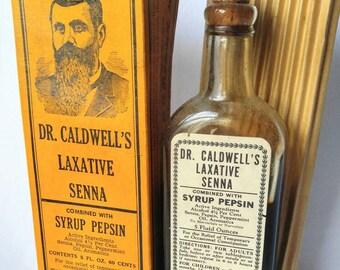 DR CALDWELL'S Laxative-Antique/Vintage-Medicine Bottle w/ Box-Oddity-Toilet-Liquid-Rare-Senna-Syrup Pepsin