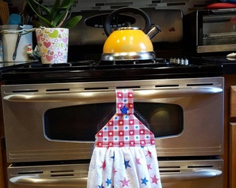 Patriotic Star Two Sided Terrycloth  Hanging Kitchen Towel With Red, White and Blue Gingham Top.