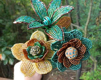 Teal Bronze and Gold French Beaded Flower Trio