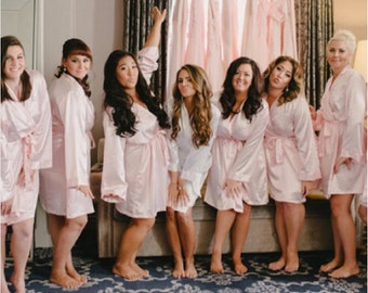 WEDDING ROBES - Blush Satin Robe - Silk Robe - Satin Robes for Bridesmaids - Satin Bridesmaid Robes - Bridal Robe - Personalized Robes