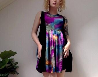 Vintage tie dye satin and velvet babydoll dress