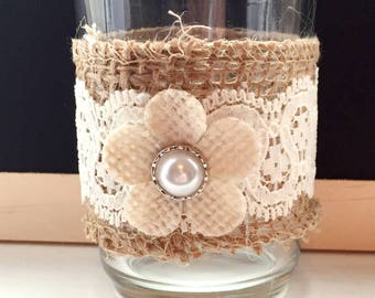 Burlap Candle Holder Custom Set of 2 Rustic Candleholder Burlap And Lace Votive Holder Choose Colors Vintage Rustic Wedding Centerpiece