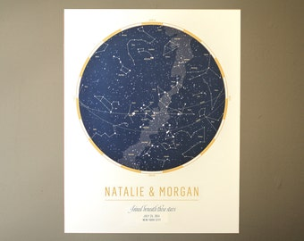 Custom Star Map: Celebrate a wedding or anniversary with a personalized map of the sky | Astronomy Art | Unique Wedding Gift