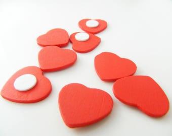 heart 8 x 22mm red wood (l302)