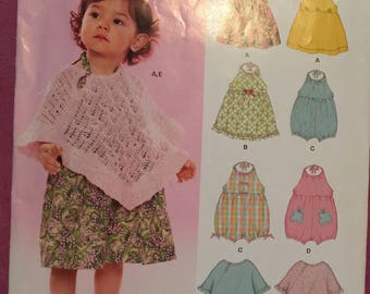 Simplicity 6501 New Look babies uncut pattern size A poncho romper