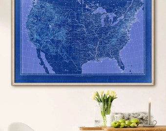 "US map 1896, Vintage map of United States in 4 sizes up to 54x36"" XL poster 19th century USA map, also in blue - Limited Edition of 100"