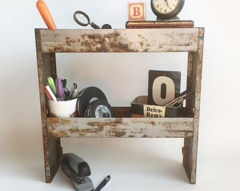 """Up-Cycled Vintage Industrial Metal Boxes Turned Desktop Shelf, Shop or Studio Organizer, Mini Bar """"Industrial Chic Style"""""""