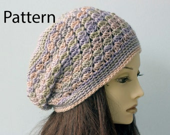 Lace Hat Crochet Pattern, Slouchy Beanie Pattern,  Crochet Hat Pattern,  Instant Download PDF