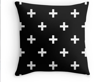 Pillow Cover Black White  Swiss Cross Home Bed Room Dorm Decor Hipster 14x14 16x16 18x18 20x20 26x26 Square Pillow