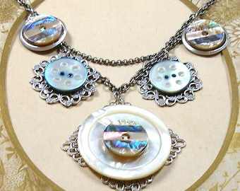 Antique BUTTON necklace, 6 Victorian mother-of-pearl buttons on silver. 1800s button jewellery.