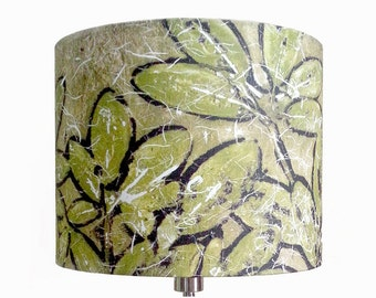 Linen Earth Tone (brown, beige, olive green, black) Rhododendron Drum Lampshade, Handmade Artisan Botanical Design, Made in Maine