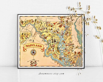 Vintage MARYLAND MAP - Instant Digital Download - fun vintage picture map for framing, pillows, totes & cards - colorful vintage map art