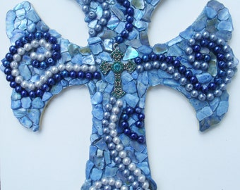 Contemporary Mosaic Hand Decorated Wall Cross Pearls and Seashells Blue 9""