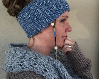 Country Blue Messy Bun/Ponytail Crocheted Hat