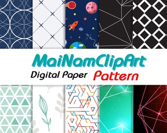 Abstract Geometric Pattern Digital Paper Pack Includes 10 for Scrapbooking Paper Crafts