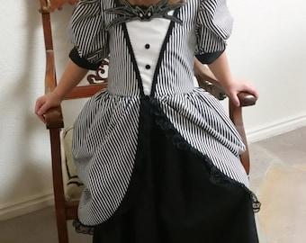 Jack Skellington Inspired Black Victorian Nightmare Before Christmas Dress Skeleton Costume Black and white striped pretend play dress new