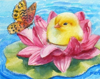 Baby Chick Water Lily Butterfly Print, 8x10 Kids Room Wall Art by Janet Zeh
