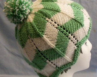 KNITTING PATTERN - Briann's Knitted Chevron Hat Pattern - PDF file instant download