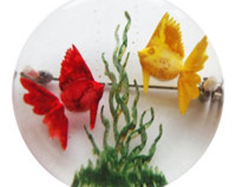 Lucite Fishbowl Brooch/Pin Vintage