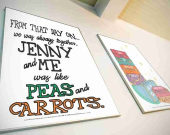 Typography Art Print - Peas and Carrots - Forrest Gump movie quote wall art gift men women black green orange custom name and date available